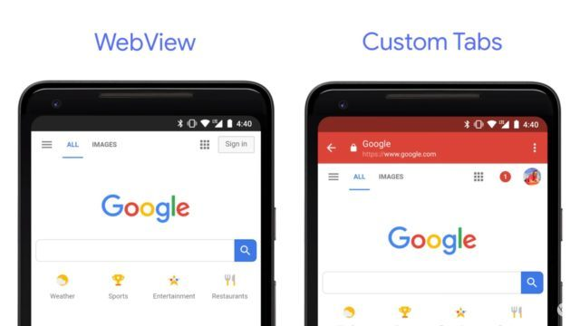web view and custom tabs